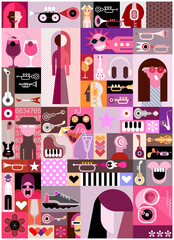 Collage Of Different Images. Pop art vector collage of people avatars, different objects and abstract shapes. Can be used as a seamless background.