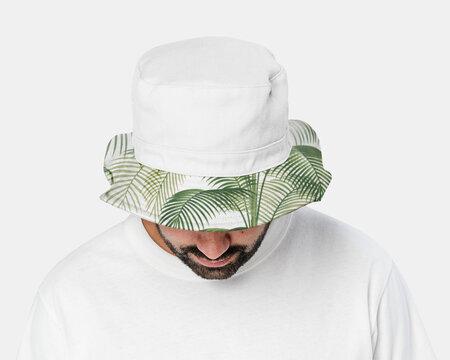 Man wearing bucket hat with summer design