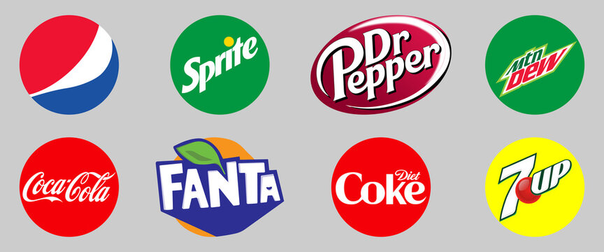 Vinnytsia, Ukraine - May 6, 2021: Set of most popular soda drinks logo. Pepsi, Coca-Cola, Sprite, Fanta, Dr Pepper, Diet Coke, Mountain Dew, 7UP