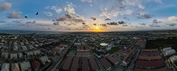 A panoramic view of the Lekki skyline at sunset