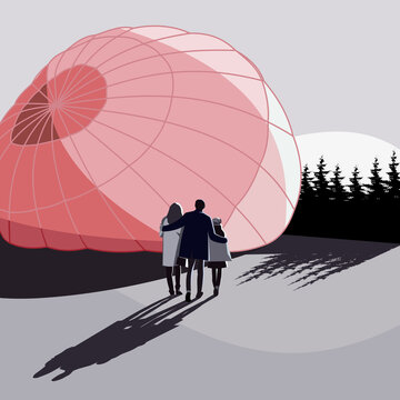 A young family before a hot air balloon trip. Vector illustration.