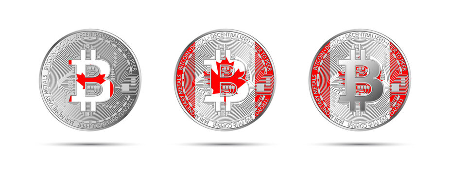 Three Bitcoin crypto coins with the flag of Canada. Money of the future. Modern cryptocurrency vector illustration
