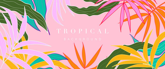 Fototapeta Pink Abstract art tropical leaves background vector. Wallpaper design with watercolor art texture from palm leaves, Jungle leaves, monstera leaf, exotic botanical floral pattern. obraz
