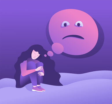 Anxiety - girl in depression and mental disorder