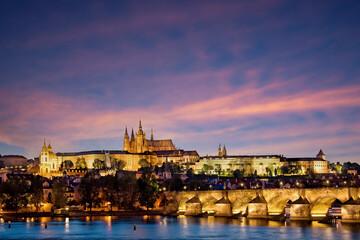 Prague castle and the Charles bridge at night, Czech republic