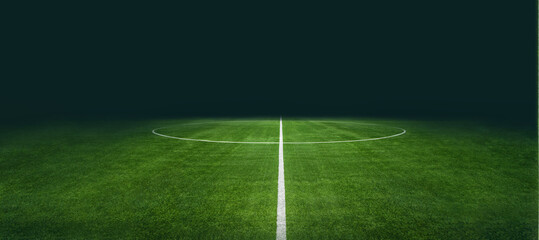 textured soccer game field with neon fog - center, midfield