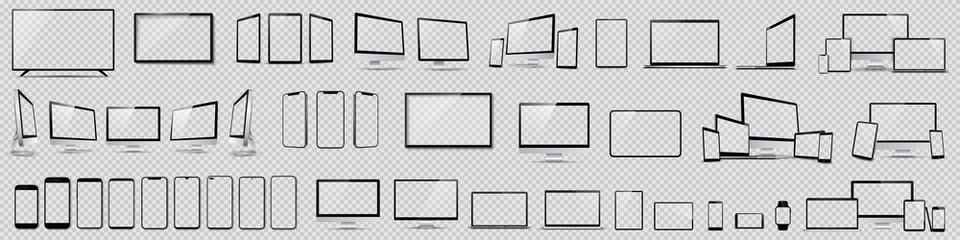 Obraz Set mockups of technology devices with empty display, device screen mockup collection, big realistic set mock up TV, computer, laptop, tablet, smartphone and watch with shadow - vector - fototapety do salonu