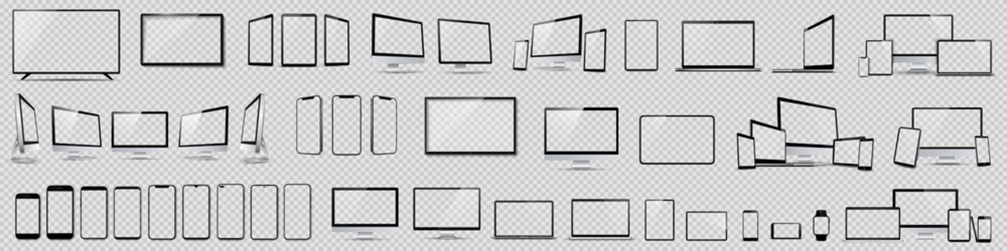 Set mockups of technology devices with empty display, device screen mockup collection, big realistic set mock up TV, computer, laptop, tablet, smartphone and watch with shadow - vector