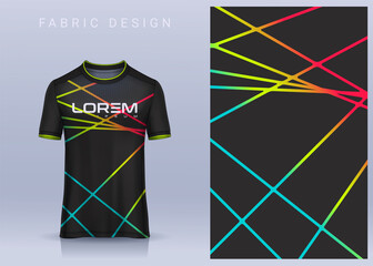 Obraz Fabric textile design for Sport t-shirt, Soccer jersey mockup for football club. uniform front view. - fototapety do salonu