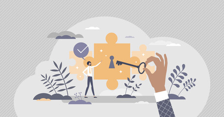 Fototapeta Potential achievement and open unrealized power or talent tiny person concept. Scene with horizon expanding with unlocking key and professional ability growth vector illustration. Unleash career goal. obraz