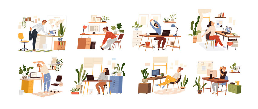 Set of different people practicing workout at workplace the table with a computer. Vector isolated. Collection of various employees doing warm up at office. Man and woman stretching by taking a break.