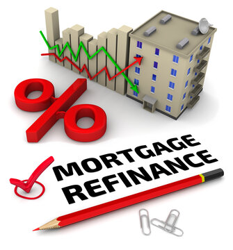 Mortgage refinance. One red check mark with black text MORTGAGE REFINANCE, a chart changes in interest rates on mortgages, a red percent symbol, a multiroom apartment house and one red pencil