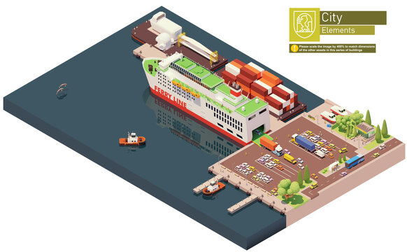 Vector isometric ferry ship unloading or at the port. Docked ferry with open gates and ramp unloading cars and trucks
