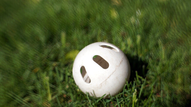 White plastic Wiffle ball in the grass with blurred background for copy space