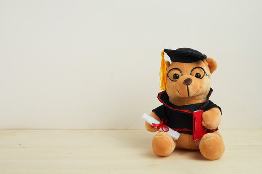 Cute teddy bear with nice graduation clothes and diploma on wooden table. School concept