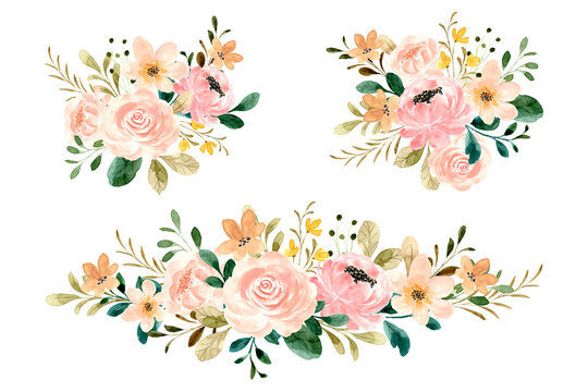 Rose flower bouquet collection with watercolor