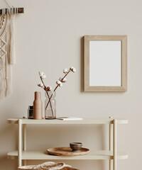 Mock up frame in cozy beige home interior background, Boho style, 3d render