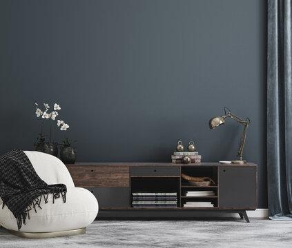 Home mockup, modern interior background, 3d render