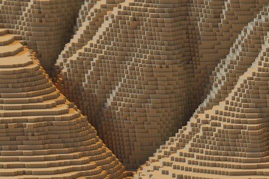voxels mountains 3D computer generated landscape.