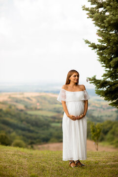Young pregnant woman at the forest