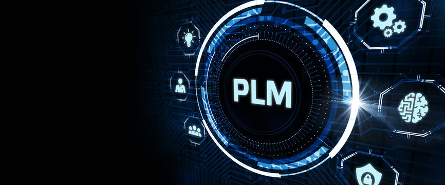 PLM Product lifecycle management system technology concept. Technology, Internet and network concept.