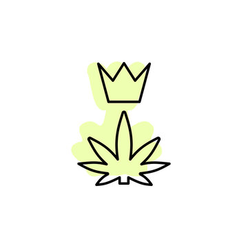 Marijuana, crown with color shadow vector icon in marijuana set