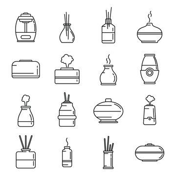 Diffuser freshener icons set, outline style