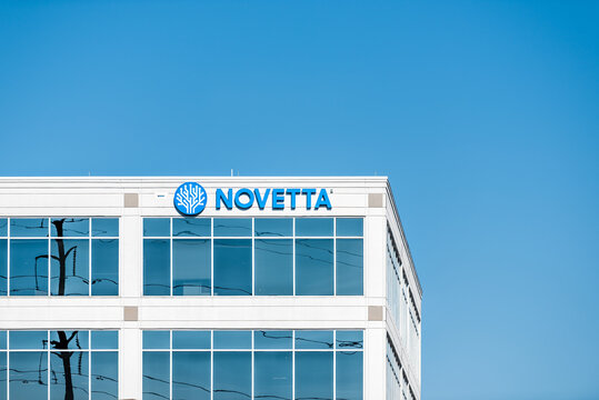 Herndon, USA - October 7, 2020: Novetta company headquarters building sign in Northern Virginia with logo for corporate business providing federal government contractor services