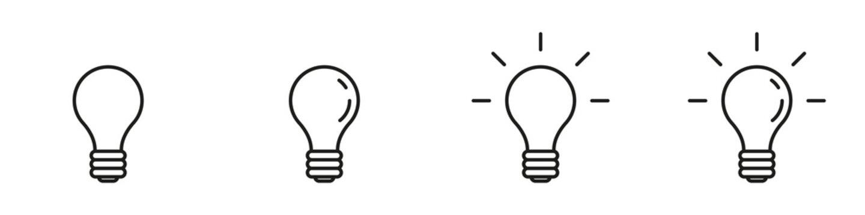 Conjunto de iconos de foco, bombilla. Concepto de iluminación. Ilustración vectorial