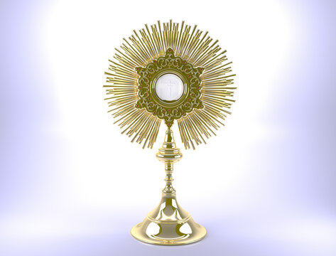 Corpus Christi. The Body and Blood of Our Lord Jesus Christ in the monstrance - 3D illustration