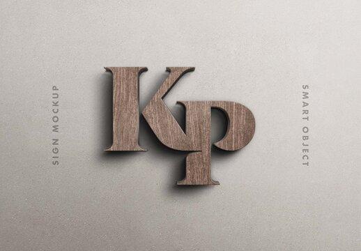 3D Wooden Wall Sign Logo Mockup