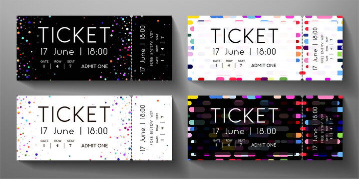 Admission ticket template set. Vector tear-off entrance ticket with circular dots and vertical colorful line on black, white background. Design template for concert event, musical event, performance