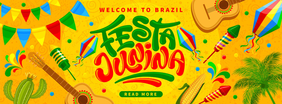 Festa Junina Brazil Festival banner template. Folklore holiday. Festa Junina calligraphy lettering with colorful flags garlands, paper lantern, fireworks on yellow background. Vector illustration.