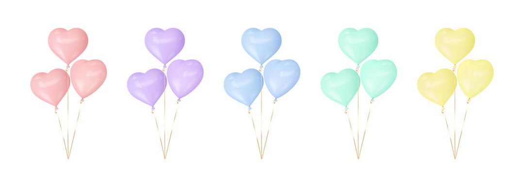 Set of colorful heart balloons. 3d glossy balloons for Valentines, Mothers, Fathers day, birthday party or wedding. Vector.
