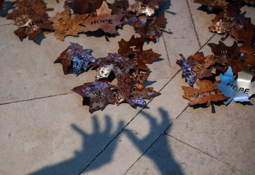 """The shadow of a person's hands falls near """"The Leaves of The Trees"""" art installation by sculptor Peter Walker, in Southwell"""
