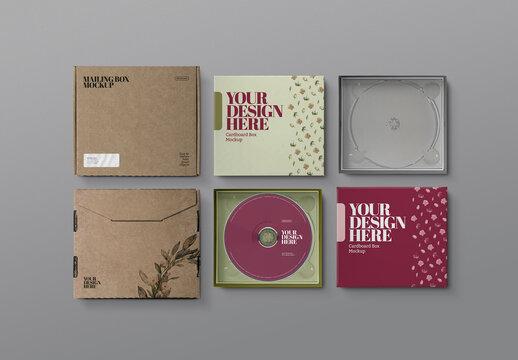 Mailing Box Mockup - CD Cardboard Jewel Case