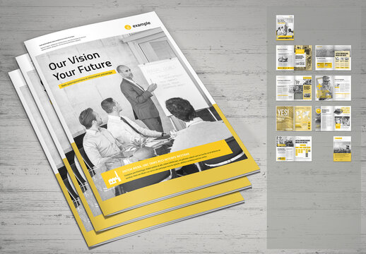Corporate Brochure Template in Light Gray with Yellow Accents