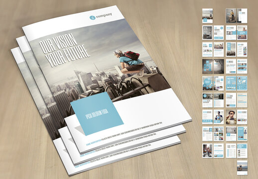 Annual Report Template with Pale Blue and Light Gray Elements