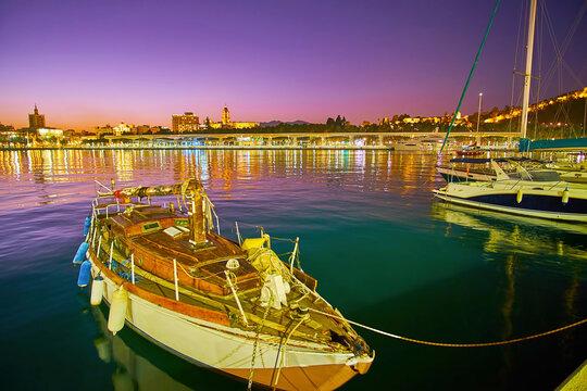 Old yacht in Malaga port, Spain