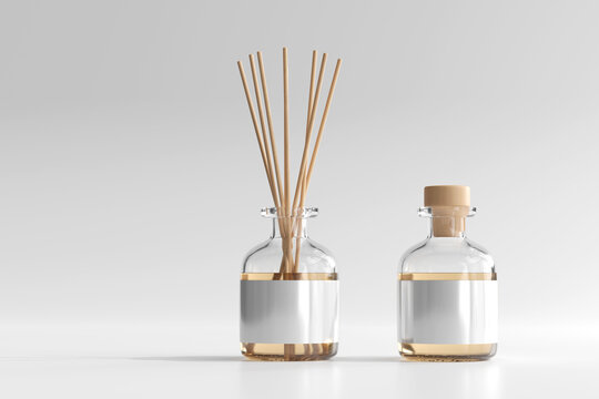 Isolated Incense Air Freshener Reed Diffuser Glass Bottle 3D Rendering