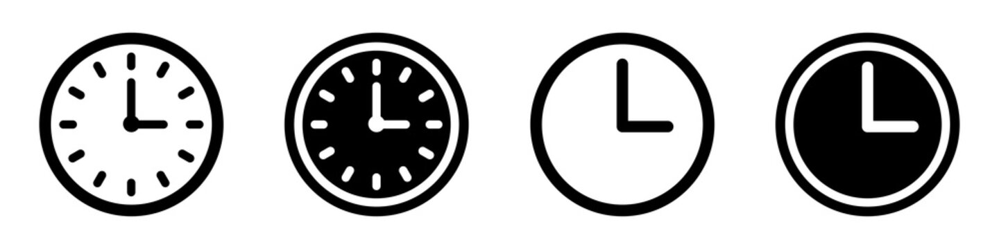 Set of clock icons. Clock, time.