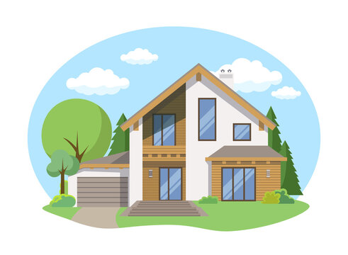 Cartoon house exterior with blue clouded sky Front Home Architecture Concept Flat Design Style. Vector illustration of Facade Building
