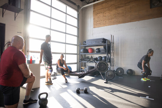 People working out in cross training gym
