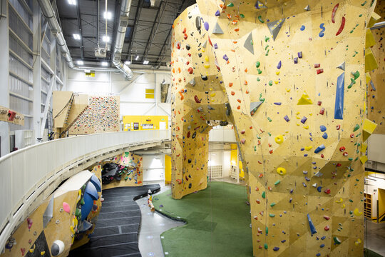 Large climbing wall in gym