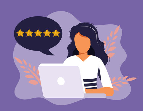 Customer satisfaction. Feedback. Rating on customer service illustration. Website rating feedback and review concept. Flat vector illustration