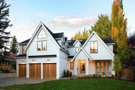 Autumn luxury home showcase exterior facade