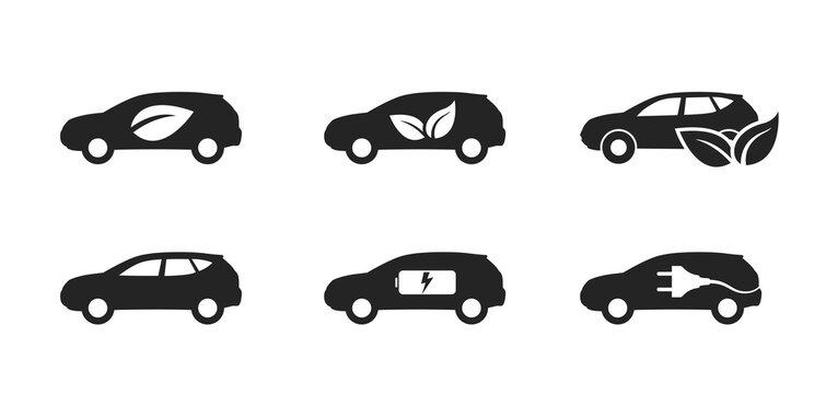 eco car icon set. zero emission vehicle. environmentally friendly and eco transport