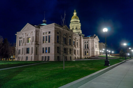 Wyoming State Capitol Building in Cheyenne, WY on a bright sunny spring day