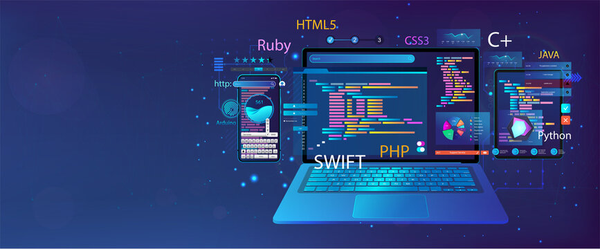 Web banner Development Software and UI interface in different devices. App dashboard with code and UI elements graph and charts, analytics data, testing website or platform and coding process. Vector