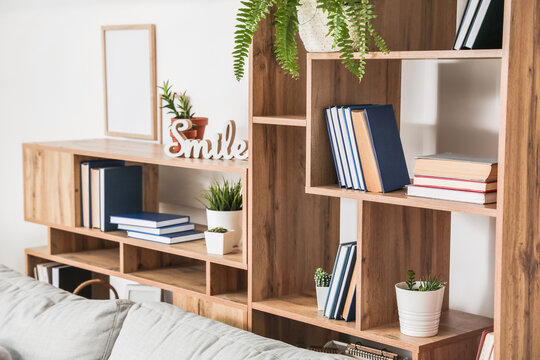 Shelf unit with books in interior of room